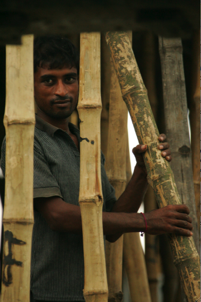 A man carries a bamboo post used in the construction of poured-concrete buildings.